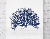 Sea Coral IV in Denim Print 8x10 - Sea Life Art Print - Coral Art Print - Blue Coral Print - Seaweed Giclee Print - Marine Life Print