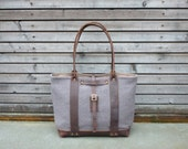 Boiled wool tote bag with oiled leather handles, straps, and an oiled leather bottem COLLECTION WOMEN