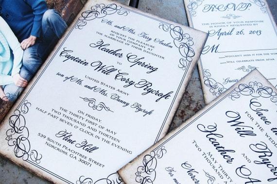 Calligraphy Script Flourish wedding invitation set. Custom colors, font styles and wording... FREE