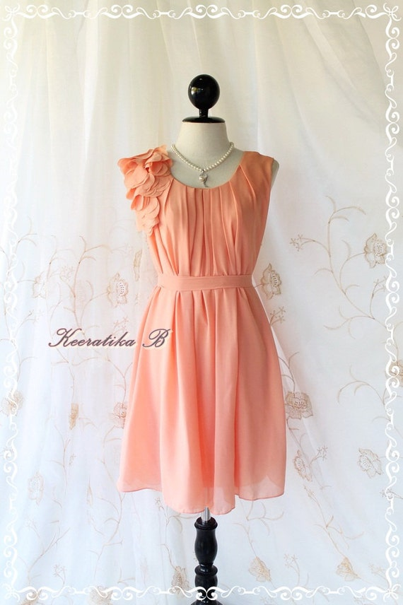 A Party Dress One Shoulder Ruffle Dress Tangerine Dress Prom Dress Party Bridesmaid Dress Wedding Dress Anniversary Dress