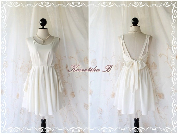 A Party Dress - V Shape Off White Dress White Bridesmaid Dress White Prom Dress Backless Cocktail Dress Homecoming Dress Night Dress Small