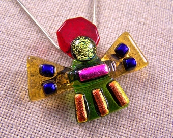 Dichroic Angel Pin AND Pendant - Yellow Amber Red Green Pink Purple Fused Glass