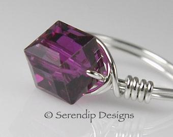 Sterling Silver Fuchsia Statement Ring, Pink Purple Swarovski Crystal Cube Ring, Custom Argentium Silver Ring