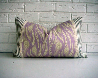 Bohemian Throw Pillow Cover - Lavender Cream Feather Pattern - Burlap Lace Pillow