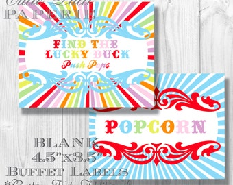 Carnival Party Candy Buffet Signs by Cutie Putti Paperie
