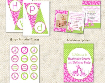 Giraffe DIY Printable Birthday Party Package Party Pack