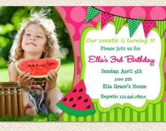Watermelon Birthday Invitations