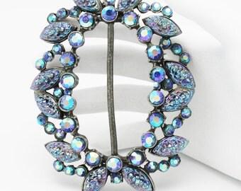 Vintage Buckle Iridescent Blue Art Glass