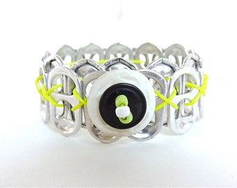 SODA TAB BRACELET - Button Bracelet - black and yellow/green - for girls, teens, and women - eco-friendly/recycled jewelry - under 10.00