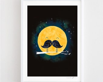 Moonstache - art print