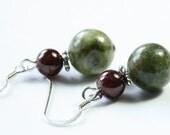 Connemara Marble & Garnet Earrings