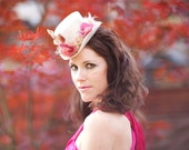 White Mini Top Hat with Pink Roses and Velvet Leaves - BELLA