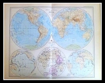 Antique 19th Century Map of the Earth