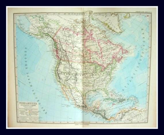 Antique 19th Century Map of North America