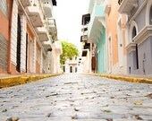 Puerto Rican Street, Old San Juan, Travel Photography, Island Life, Cobblestone Road, Old San Juan