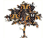 Swirly Tree Painting, modern tree painting, contemporary tree painting, tree wall art, tree wall decor, tree poster, modern tree