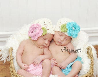 Twin Ashlee Beanies in Ecru, Baby Pink, Teal and Celery Green Available in Newborn to Tween Size- MADE TO ORDER