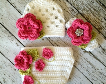 The Sofia Flower Beanie in Pink, White and Celery Green with Matching Diaper Cover and Headband Available in Four Sizes- MADE TO ORDER