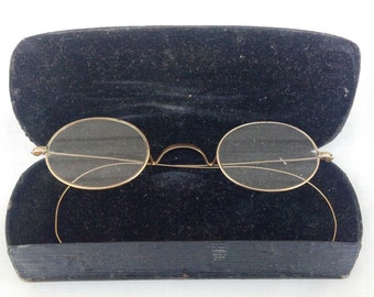 Antique Victorian Spectacles Gold Wire Rimmed Glasses Round Eye Glasses Carry Case
