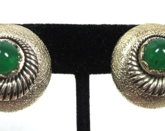Whiting and Davis Art Deco Jade Glass Earrings, Textured Design with Cabochon, Vintage Earrings