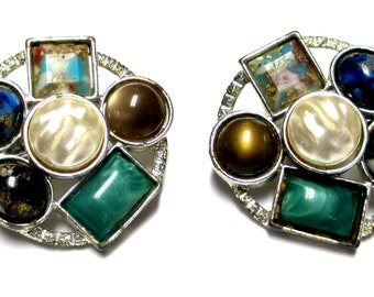 """Sarah Coventry """" Happy Holiday"""" Multiple Gemstone Clip Earrings"""