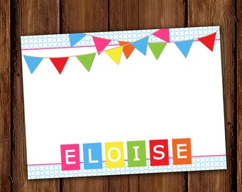 Colorful Pennants and Polka Dots Stationery - Personalized Girl Stationary - Printable or Printed Note Cards
