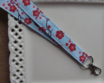 Fabric Lanyard ID -  Cherry Blossoms on Light Blue