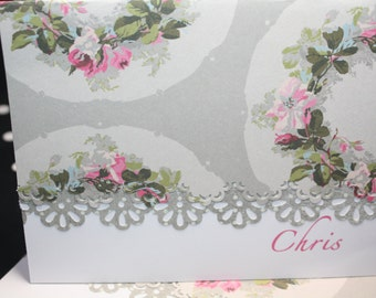 Floral Wreath Note Cards - Personalization may be added to a set of 5