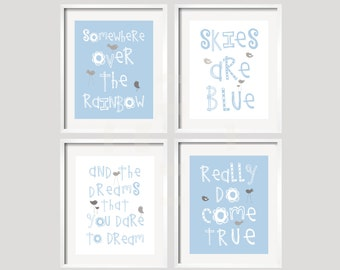 Somewhere Over The Rainbow Baby Blue, White and Gray  Nursery Art Prints 8x10 inches, Girl or Boy Colors available by YassisPlace