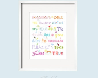 Somewhere over the rainbow Nursery Decor Rainbow colors for boys and girls wall art 11x14 by Yassisplace wall art