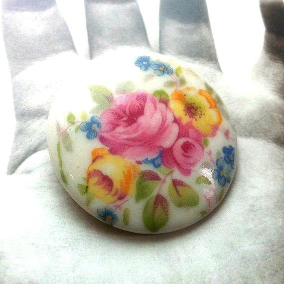 Shabby Chic Floral Pink and Yellow Rose Porcelain Brooch
