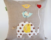 Children's Organic Linen Pillow Cover/ Elephant with Birds/ Good to Have a Strong Friend/ Safari/ Natural Nature Inspired/ Made To Order