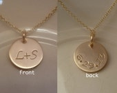 "Double Sided Gold-filled- 1/2"" Stamped Disc - Couple's Initials - Dated Back - Bridal Gift - Wedding Date - front - back - Reversible"