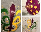 Mardi Gras Wine Glass. Purple Green and Gold Fleur de lis New Orleans Theme