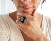 Statement Jewelry. Mid-Century Button in Sterling Silver Ring. Modern Jewelry