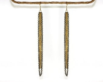 Long tassel earrings. Black & gold chain earrings 18k gold plated jewelry, long gold earrings