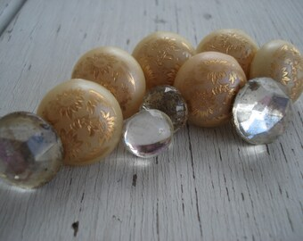 Cream Ivory Czech Gold Etched Pearls Antique Faceted Glass Push Pins Thumb Tacks Set of 10 Flowers Floral