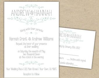 Vintage Wedding Invitation and RSVP -Printable DIY. printed country chic outdoor wedding (1054)