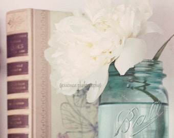 Shabby Chic Photography, Still Life Photography, Pastel Art, Cottage Decor, Mason Jar, Peony Art Print, Flower Still Life, Shabby Chic Print