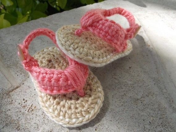 Items Similar To Crochet Baby Flip Flops 0 6 Months Size