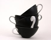 Vintage Modern  Black and White Cups - zuzashop