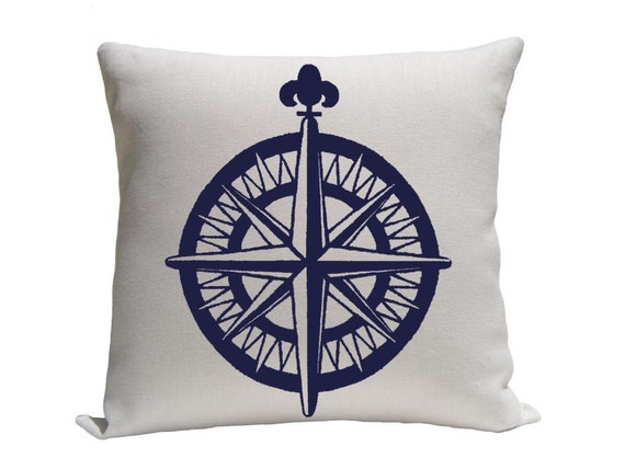 Nautical Decorative Pillow Covers : Nautical Compass Pillow Cover Blue and White Pillow sizes