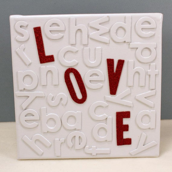 LOVE Canvas with Red Glitter LOVE Letters, Random White Letters on White Canvas
