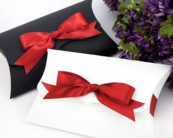 "6 Large Pillow Boxes - 7.75"" x 4.5"" x 1.5"" - reusable gift box, unique eco packaging for jewelry, accessories  - Kraft, black or white"