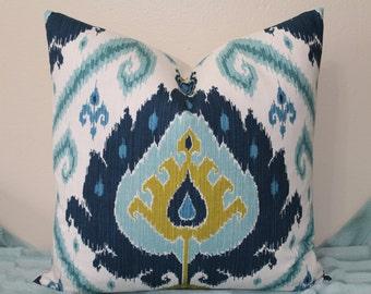 "NEW Ikat Print - 18"",20"",22"" or 24"" Square Decorative Designer Pillow Cover - Indigo Blue, Chartreuse and Aqua"