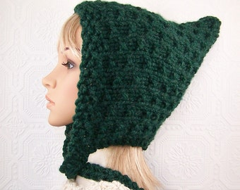 Pixie hat - hand knit hat - women's accessories - your color choice - handmade winter fashion by Sandy Coastal Designs