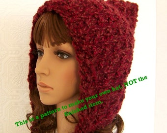 Instant download knitting hat pattern - adult pixie hood pdf knit pattern - DIY winter hat pattern by Sandy Coastal Designs