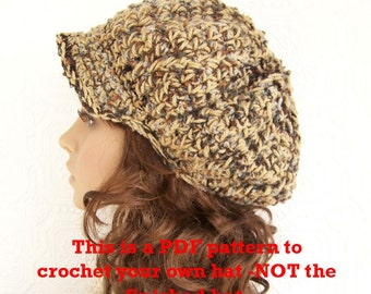 Instant download crochet Hat Pattern - Bulky Newsboy, Messenger Hat pdf crochet pattern - diy hat pattern - Sandy Coastal Designs