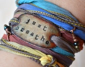 Silk Wrap Bracelet, JUST BREATHE - Silk Wrap Bracelet- just breathe bracelet- boho bracelet, boho- boho jewelry- just breathe