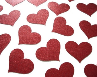 20 Large Glitter Red Heart Confetti, Valentine's Day Party Decorations - No279